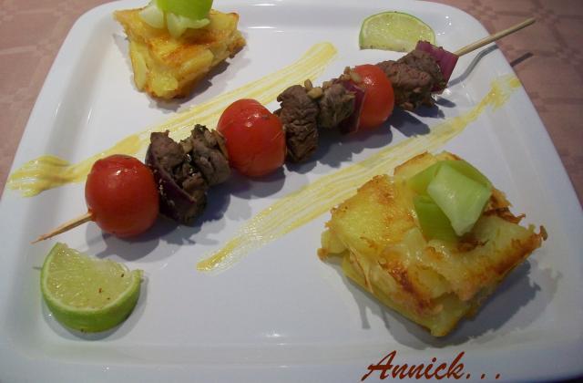 Brochette au bœuf de Chalosse & ses ch'tis pavés - Photo par Annick