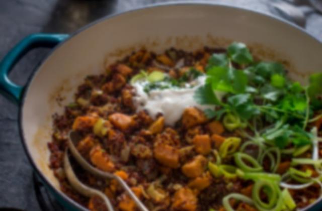 Quinola pilaf de patate douce et de poireau - Photo par Quinola Mothergrain