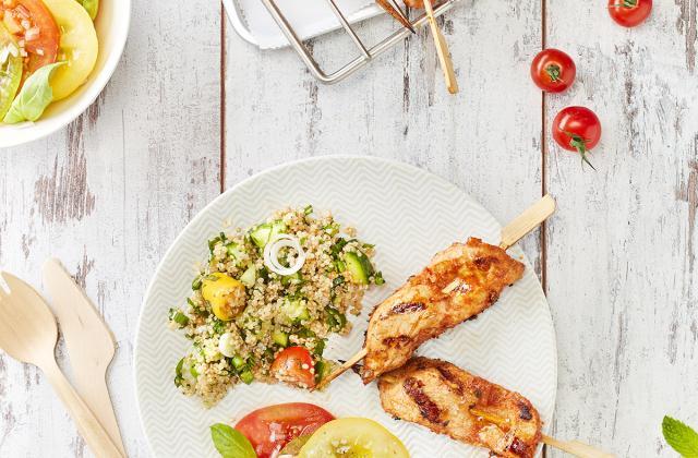 Brochettes cajun, salades estivales - Photo par S'cuiz in