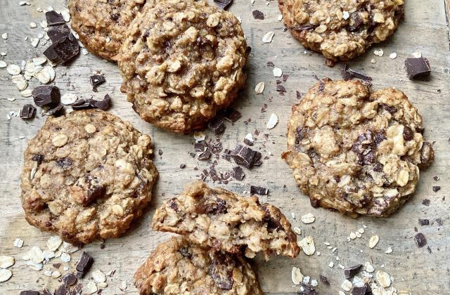 Cookies légers aux flocons d'avoine, banane et chocolat - Photo par Pascale Weeks