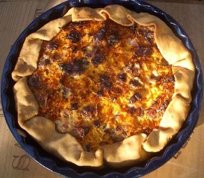 Tarte au potiron, carotte, bacon et bleu d'Auvergne - Photo par tellou