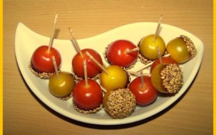 Tomates cerises caramélisées au sésame - Photo par biscottine