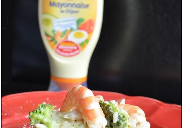 Risotto aux crevettes, brocoli, parmesan à la Mayonnaise - Photo par Amora