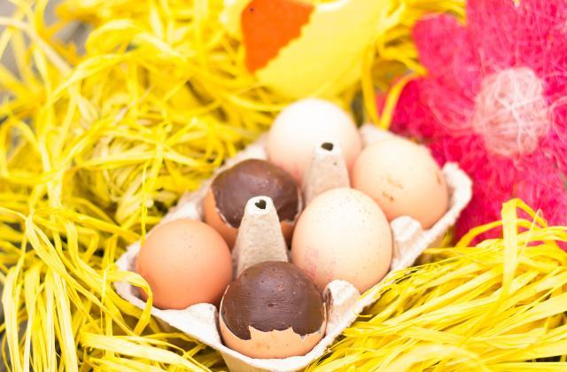 Œufs de pâques fourrés au chocolat praliné - Photo par christophe thermostat7.fr