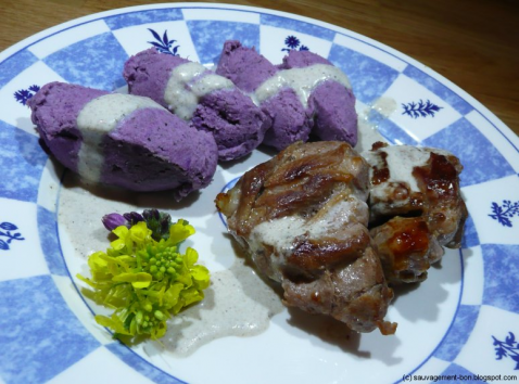 Purée violette au lépiotes et agneau grillé - Photo par nicolaji