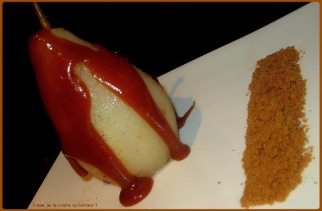 Poires pochées au sirop et caramel beurre salé - Photo par Cissou34