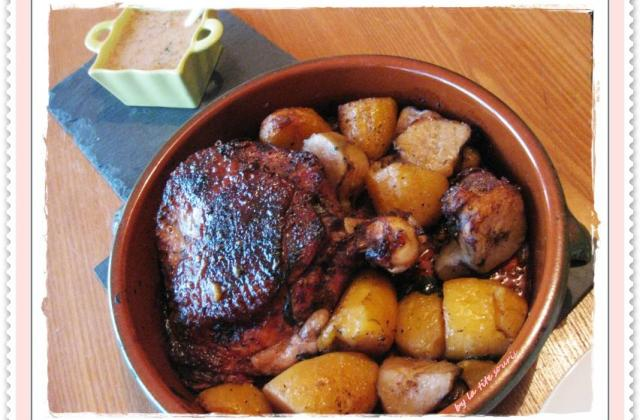 Cuisse de dinde sauce MAYA, pommes de terre et topinambours rôtis - Photo par la tite souris dans le placard