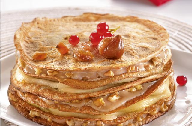 Gâteau de crêpes à la châtaigne, poires et noix - Photo par Bjorg
