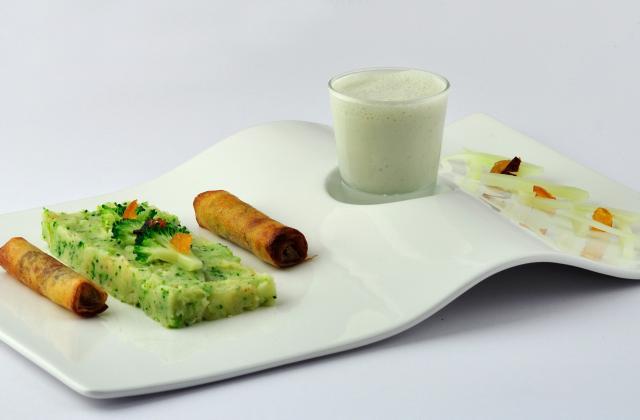 Fourme d'Ambert Aérienne, purée aux brocolis et cigares aux fruits secs - Photo par La Fourme d'Ambert