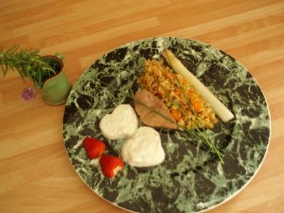 Foie de veau sauce fine roquefort Papillon, risotto d'épeautre - Photo par eponin