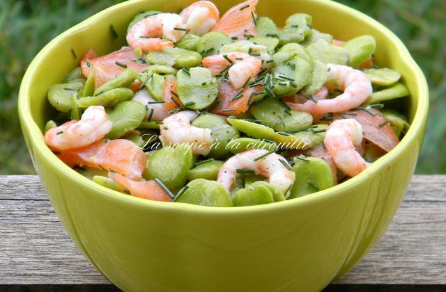 Salade de fèves au saumon fumé et aux crevettes - Photo par La soupe à la citrouille