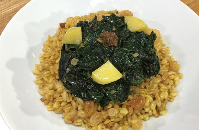 Curry végétarien aux épinards et blé tendre aux raisins blonds - Photo par La Quotidienne