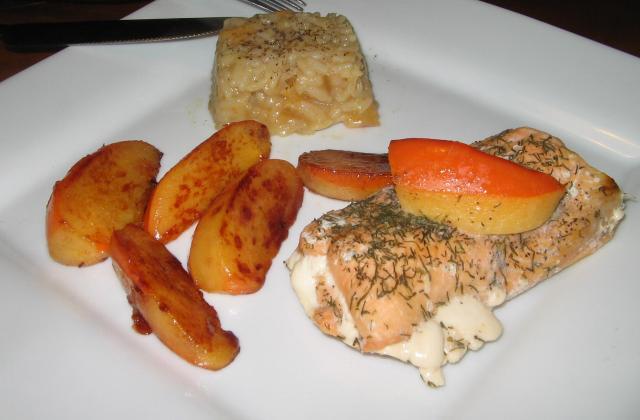 Kaki cuit en trois façons sur pavé de saumon aneth-citron vert - Photo par La Petite Mu