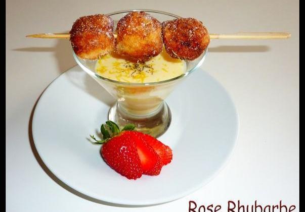 Beignets de fraises au thym et sa crème anglaise citronnée - Photo par Membre_248867