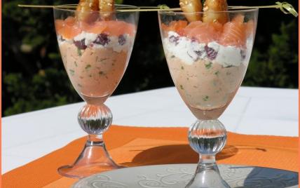 Verrine aux deux saumons, saint-jacques et fromage de chèvre frais - Photo par latabledepenelope