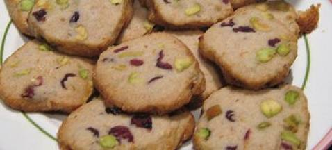 Cookies pistache-amandes-cranberries - Photo par gawellf