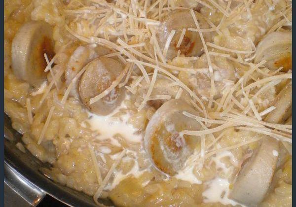 Risotto citronné au boudin blanc et oignons confits - Photo par La petite cuisine de Sabine