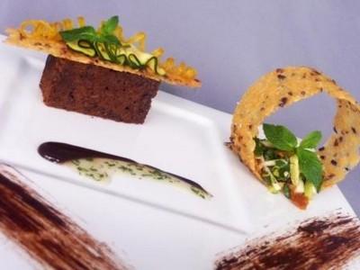 Cake au chocolat, courgettes et pommes punché - Salade fraîcheur à la menthe - Photo par uncuis