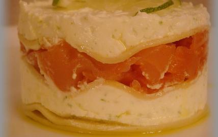Mille-feuille de lasagnes au petit billy et saumon fumé - Photo par annecoK