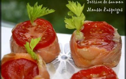 Terrine de saumon crabe et mousse d'asperges - Photo par elisah