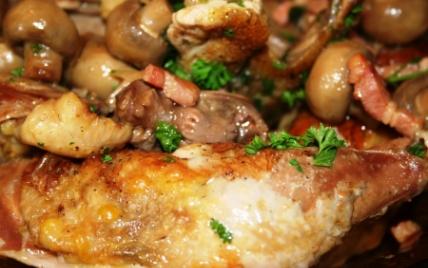 Pintade aux lardons, champignons et vin rouge - Photo par picaud6