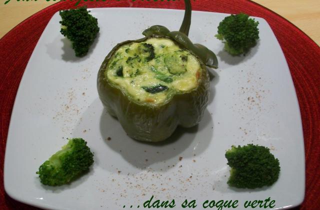 Flan courgette et brocoli dans sa coque verte - Photo par Annick