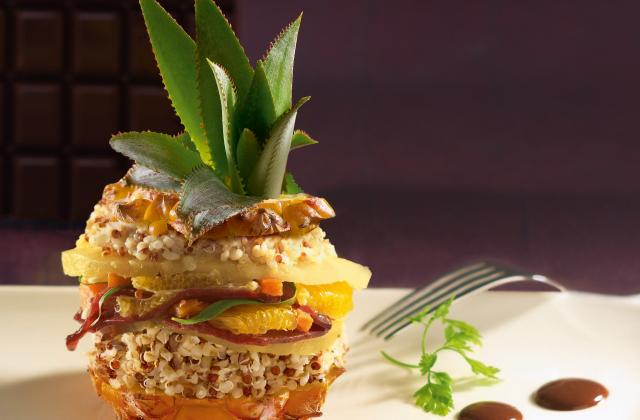 Poélée exotique de quinoa gourmand aux émincés de canard et sa sauce chocolat épicée - Photo par Tipiak