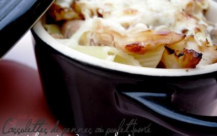 Cassolettes gratinées de pennes au poulet fumé à la crème de camembert - Photo par le blog jedism