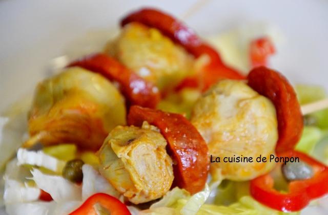 Brochettes de chorizo et artichaut - Photo par Ponpon