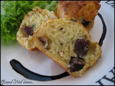 Muffins aux gésiers de canard confits et au chèvre - Photo par Nad0511