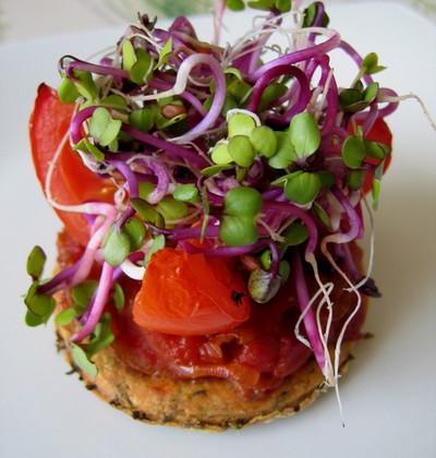Sablé basilic, sublime de tomate et caramel d'oignons - Photo par celinenq