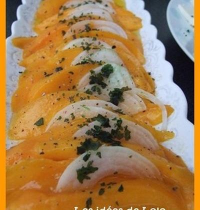 Carpaccio de mangue à l'huile d'olive parfumée à la vanille... - Photo par lapopotedelolo