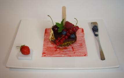 Nougat glacé aux pistaches vertes et fruits rouges....comme un esquimau - Photo par Sandrine Baumann
