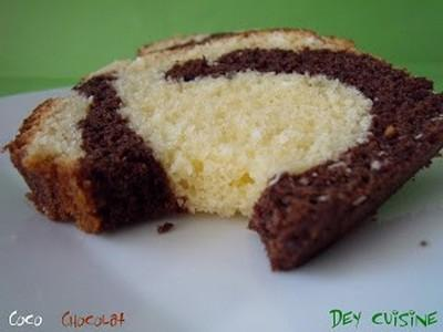 Cake marbré coco et chocolat - Photo par DeyCuisine