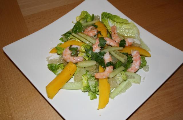 Salade crevettes-mangue-pamplemousse chinois - Photo par Solenne Trois Clous