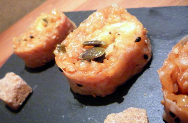 Maki caramel et banane flambée - Photo par Chez Inoule