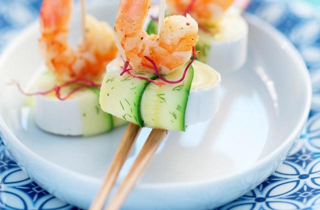 Comme un sushi, en cas de caprice, courgette et crevettes grillées - Photo par Caprices des Dieux