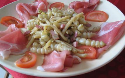 Crosnes poêlés aux lardons et haricots beurre - Photo par mirette-aux-fourneaux.over-blog.com