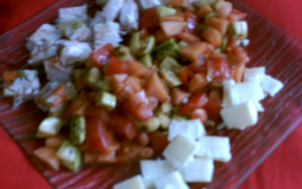 Assiette fraîcheur, tomates, melon, courgette, cantal et poulet - Photo par hjerem