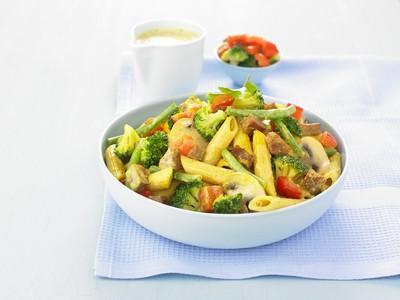 Pâtes au curry et au Seitan - Photo par audreydesoy