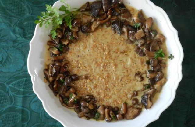 Risotto d'épeautre aux champignons, jus d'un rôti - Photo par 750g
