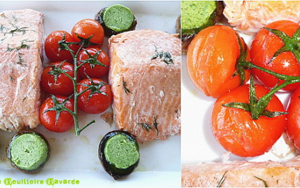 Papillotes de saumon aux champignons farcis tomates confites - Photo par Lacuisinedeyolande