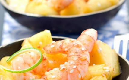 Crevettes sautées à l'ananas M'les Fruits - Photo par M' Les Fruits