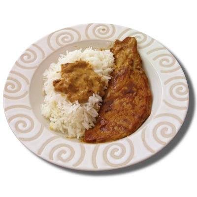 Escalope de veau sauce 'sahara' et son riz camarguais - Photo par jean