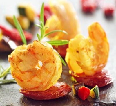 Crevettes royales au paprika et chorizo, légumes grillés - Photo par Toupargel