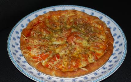 Tarte fine à la tomates-mozza, sur lit de moutarde à l'ancienne - Photo par renee42300