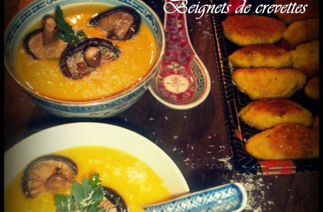 Velouté de potiron aux saveurs d'Asie et beignets de crevettes - Photo par La petite cuisine de Sabine