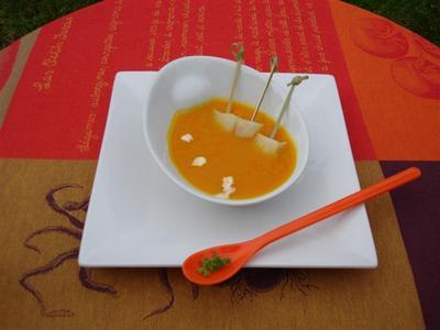 Soupe de potimarron au curcuma, lardons de flétan noir fumé - Photo par Sandrine Baumann