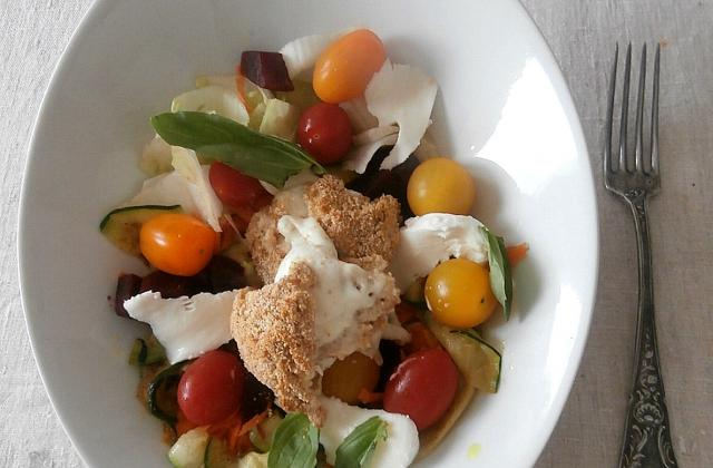 Salade mozza chaude, carottes, betteraves, courgettes - Photo par MyCulinaryCurriculum