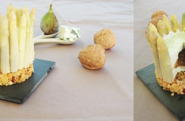 Chartreuse au roquefort & asperges, coeur de figues sur biscuit croustillant - Photo par Carottesjaunestomatesroses